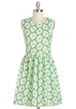 Green flower print dress at Modcloth
