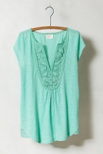 Green lace tee at Anthropologie at Anthropologie