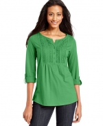 Green pintucked top at Macys at Macys