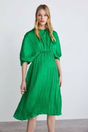 Green pleated dress at Zara
