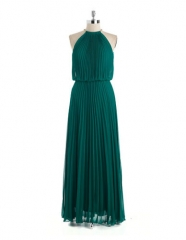 Green pleated gown at Lord & Taylor