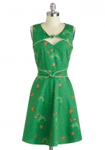 Green printed  dress like Carries at Modcloth