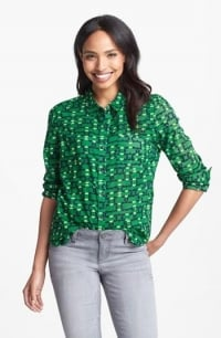 Green printed shirt by Halogen at Nordstrom