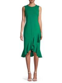 Green ruffled sheath dress at Saks Off 5th