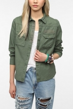 Green utility shirt from Urban Outfitters at Urban Outfitters