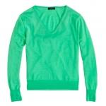 Green v neck sweater at Jcrew at J. Crew
