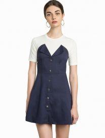 Greta Denim Snap Button Dress by Pixie Market at Pixie Market