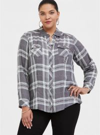 Grey Plaid Button Front Shirt by Torrid at Torrid