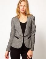 Grey blazer with black detailing from ASOS at Asos