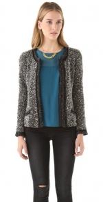 Grey boucle blazer like Zoe Harts at Shopbop