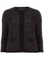 Grey boucle jacket with black trim at Dorothy Perkins