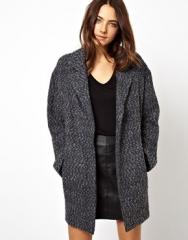 Grey boyfriend coat at Asos