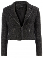 Grey fleece biker jacket from Dorothy Perkins at Dorothy Perkins