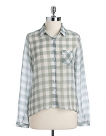 Grey gingham shirt at Lord and Taylor at Lord & Taylor