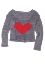 Grey heart sweater at Delias at Delias