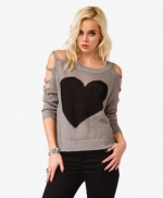 Grey heart sweater with cutout sleeves at Forever 21