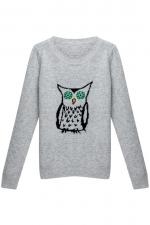 Grey owl sweater at Romwe at Romwe