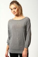 Grey pearl sweater at Boohoo at Boohoo