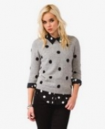 Grey polka dot sweater at Forever 21