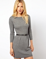 Grey slash neck knitted dress at Asos