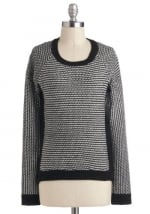 Grey sweater with black trim at Modcloth at Modcloth