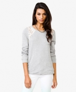 Grey sweater with lace insets at Forever 21