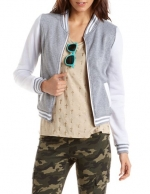 Grey varsity jacket at Charlotte Russe