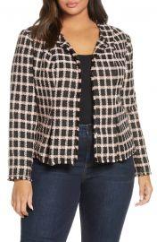 Grid Tweed Frayed Jacket at Nordstrom