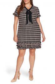 Grid Tweed Short Sleeve A-Line Dress at Nordstrom