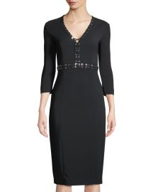 Grommet-Trimmed Long-Sleeve Dress by Michael Kors at Last Call