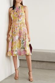 Grosgrain-trimmed ruffled floral-print silk-crepon dress at Net A Porter