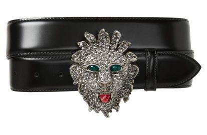 Gucci Large Lion Head Leather Belt at Nordstrom