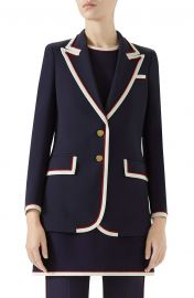 Gucci Peak Lapel Stretch Cady Blazer   Nordstrom at Nordstrom