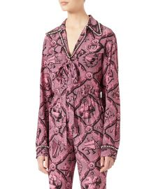 Gucci Romain Printed Silk Shirt at Neiman Marcus