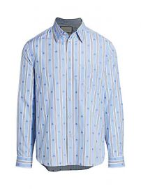 Gucci - Bee Stripe Fil Coup   Cotton Shirt at Saks Fifth Avenue