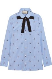 Gucci   Bow-embellished embroidered striped cotton shirt at Net A Porter