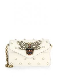 Gucci - Broadway Bee Studded Leather Chain Clutch at Saks Fifth Avenue