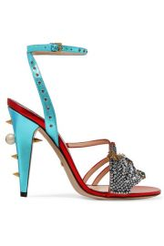 Gucci - Embellished metallic leather sandals at Net A Porter