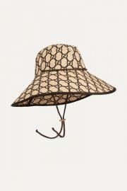 Gucci - Embroidered raffia hat at Net A Porter