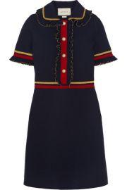 Gucci   Faux pearl-embellished ruffled wool-blend mini dress at Net A Porter
