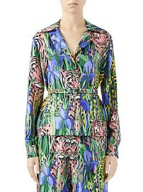 Gucci - Feline Garden Silk Twill Blouse at Saks Fifth Avenue
