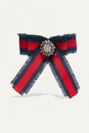 Gucci - Grosgrain  crystal and faux pearl brooch at Net A Porter