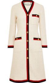 Gucci - Grosgrain-trimmed cotton-blend boucl  -tweed coat at Net A Porter