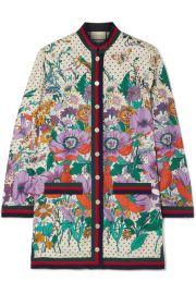Gucci - Grosgrain-trimmed printed silk-twill shirt at Net A Porter