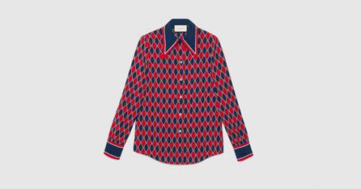 Rhombus print silk shirt at Gucci