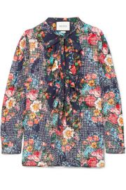 Gucci   Josephine embellished floral-print silk-chiffon shirt at Net A Porter