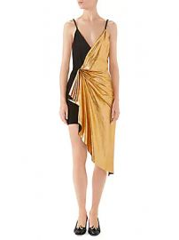 Gucci - Metallic Leather  amp  Suede Ruched V-Neck Mini Dress at Saks Fifth Avenue