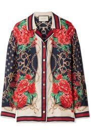 Gucci   Oversized printed silk-twill shirt at Net A Porter