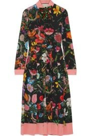 Gucci - Pleated printed silk crepe de chine dress at Net A Porter