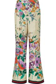 Gucci - Printed silk-charmeuse wide-leg pants at Net A Porter